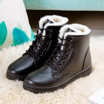 Hanyu Women's Snow Boots Martin Boots Outlets Waterproof LadisShoes(Black Size 35) - intl