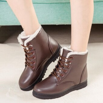 Hanyu Women's Snow Boots Martin Boots Outlets Waterproof LadisShoes(Brown Size 35) - intl
