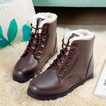 Hanyu Women's Snow Boots Martin Boots Outlets Waterproof LadisShoes(Brown Size 35) - intl - 4