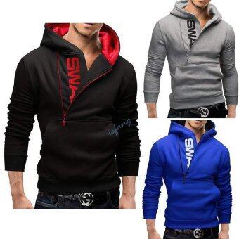 Happycat Fashion Men's Casual Long Sleeve Hooded Half Zipper\nClosure Pure Color Cotton Leisure Sports Tops Hoodie momowish (XXL)\n(Black)