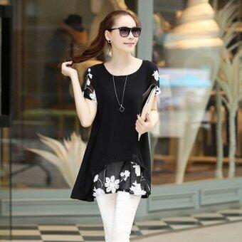 HengSongเสื้อแขนสั้นปักเสื้อผ้าผู้หญิงแต่งตัวเสื้อชีฟองเกาหลีเวอร์ชันสีดำ (image 4)