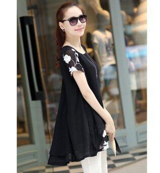 HengSongเสื้อแขนสั้นปักเสื้อผ้าผู้หญิงแต่งตัวเสื้อชีฟองเกาหลีเวอร์ชันสีดำ (image 3)