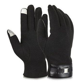 HengSongสมาร์ทโฟนหน้าจอสัมผัสของผู้ชายยืดนิ้วถุงมือแบบผู้ใหญ่การส่งข้อความในฤดูหนาวอบอุ่นถุงมือสีดำ