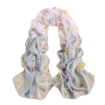 HengSong Fashion Women Ladies Chiffon Scarfs Shawl Scarves GreyWhite - intl
