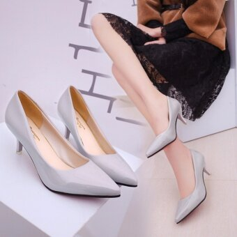 HengSong Korean Fashion Patent Leather Tip High Heels Shallow Mouth Shoes Occupation Women's Single Shoes Pumps (Grey) - intl
