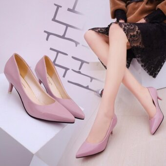 HengSong Korean Fashion Patent Leather Tip High Heels Shallow Mouth Shoes Occupation Women's Single Shoes Pumps (Pink) - intl