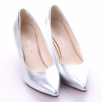 HengSong Korean Fashion Patent Leather Tip High Heels Shallow Mouth Shoes Occupation Women's Single Shoes Pumps (Sliver) - intl - 5