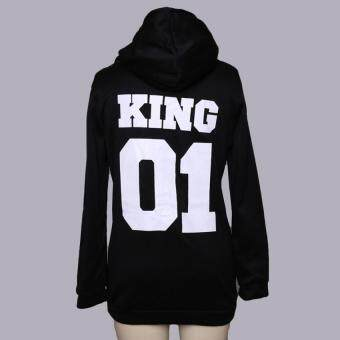 HengSong Men Punk Hip Hop Casual Hooded King 01 Letter Hoodies Black