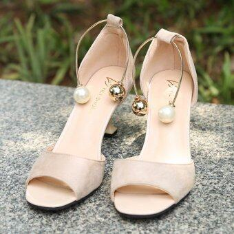HengSong Summer Ladies Fashion Shallow Mouth Fish Mouth High-heeled Shoes Pearl buckle Sandals(Beige) - intl - 3
