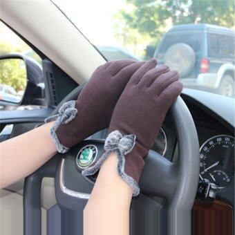 HengSong Women Winter Touch Screen Velvet Warm Gloves Coffee - intl
