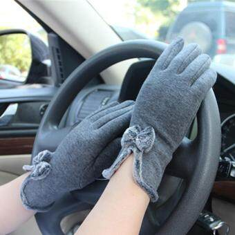 HengSong Women Winter Touch Screen Velvet Warm Gloves Gray - intl