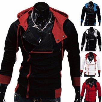 Hequ Aliexpress explosion of Assassin s Creed sweater obliquezipper hooded jacket men s W20 White(