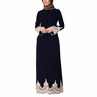 Hequ Muslim Women Embrodered Cuff Lace Dress Abaya Islamic ChiffonMaxi Dress Black - intl