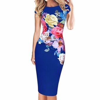 Hequ Women Floral Print Sleeveless Slim Cocktail Party Dress Blue -intl