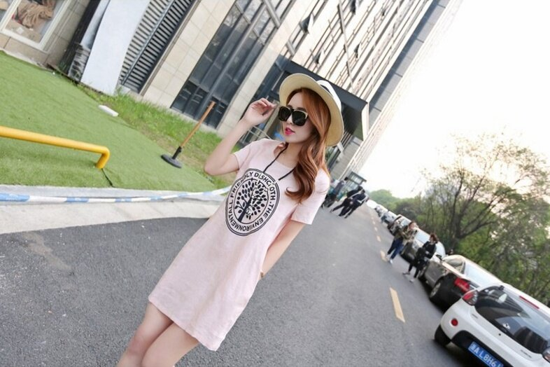 (High quality - fast delivery) new Korean version of cotton and linen dress, female A word, short sleeve dress - intl