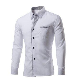 High Quality New Fashion Spring Hot Sale Men Plain Shirt Slim FitLong Sleeve Shirts Mens Clothing Casual Tee tops (White) - intl