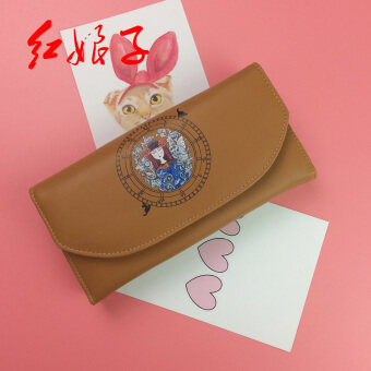 Hongniangzi การ์ตูนหลายแซนวิชบิตบัตรกระเป๋าสตางค์กระเป๋าสตางค์ยาว (สีน้ำตาล)