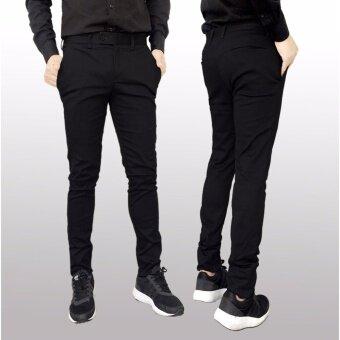 กางเกงสแลคขายาว Hopper Progress ผ้ายืด ทรงเข้ารูป (Skinny) สีดำ