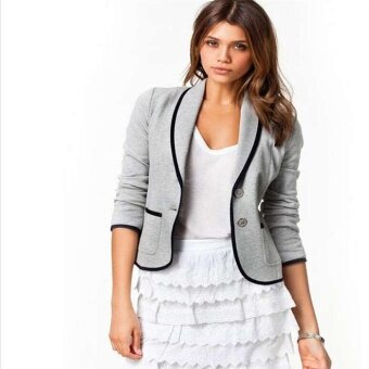 Harga Hot Fashion Lady Leisure Solid Long Sleeve Suit Collar Stitching Fall Coat C362 Color Grey - intl