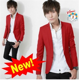 ***HOT SALE*** New Arrival Korean Style Elegant Slim Fit Men Jacket Casual Business Dress Blazers (Red)