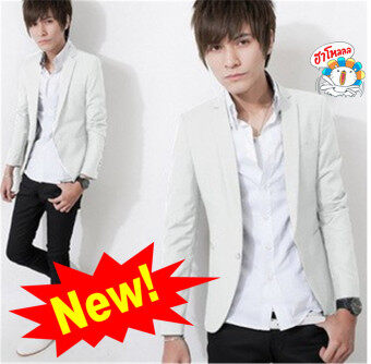 ***HOT SALE*** New Arrival Korean Style Elegant Slim Fit Men Jacket Casual Business Dress Blazers (White)