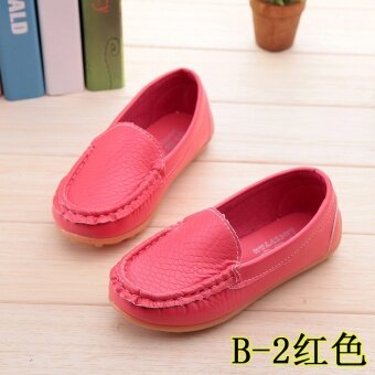 Hot Selling Boys and Girls Casual Shoes Beans Shoes Cute SolidPrincess Soft Soled Shoes Red - intl