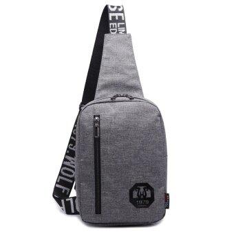 I เกาหลีผู้ชายผ้าใบกระเป๋าเป้สะพายหลังใหม่กระเป๋าหน้าอก (สีเทาเข้ม)
