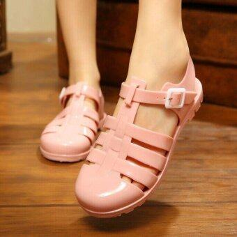 Harga Hot Women's Sweet Rome Jelly Rubber Buckle Strap Breathable Flat Sandals D32 Pink - intl