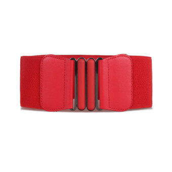 Harga YingWei Fashion Lady Bow Buckle Elastic Waist Belt Lady Waistband Red