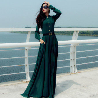 Harga Casual Long Sleeve Maxi Dress (Green)