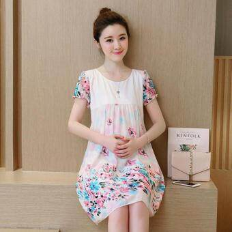 Harga Small Wow Maternity Daily Round Print chiffon Loose Above Knee Dress Red - intl
