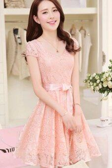 Harga 2017 Summer New style Women's Lady Slim-fit Medium style Lace Chiffon Sleeveless Long Dresses (Pink)