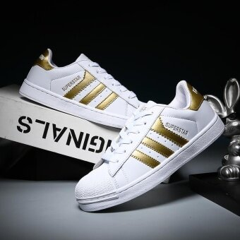 Harga 2017 Men and Women Fashion Adidas Casual Sports Shoes-White and Gold - intl
