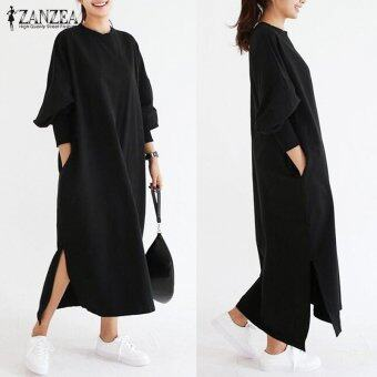 Harga ZANZEA Women Striped Dress Long Batwing Sleeve O-Neck Casual Loose Split Maxi Long Dress Vestidos (Black) - intl