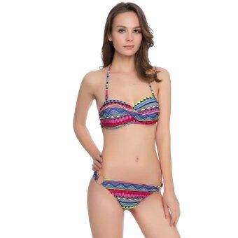 Harga Venus queen Women's Floral Print Vintage Push-Up Bra Sexy Plus Size High Waist Summer Neoprene Bikini Set Swimsuit Swimwear Beachwear - intl