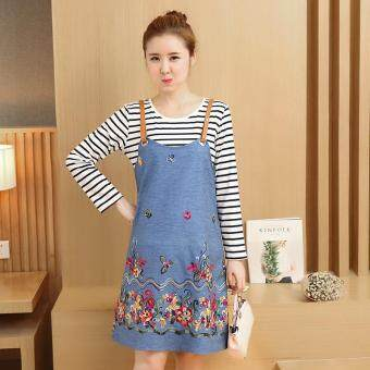 Harga Small Wow Maternity Fashion Round Print Cotton Loose Above Knee two-piece Dress Blue - intl