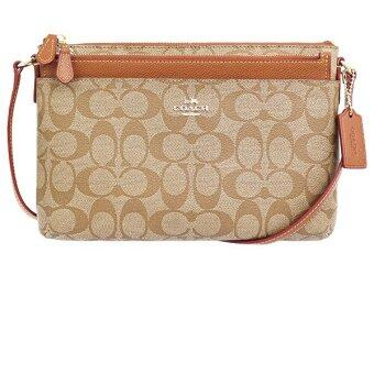 Harga COACH F52657 EAST/WEST POP CROSSBODY IN SIGNATURE CANVAS(SADDLE)