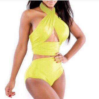Harga Venus queen Women's Solid Color Vintage Sexy Plus Size High Waist Summer Neoprene Bikini Swimsuit Swimwear