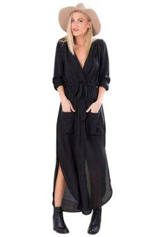 Harga Women Fashion Summer Dress Elegant Loose Full Sleeve V Neck Dress Casual Solid Cotton Linen Long Maxi Dress Plus Size Vestidos Black - intl