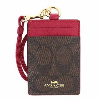 Harga COACH กระเป๋าใส่บัตร LANYARD ID CASE IN SIGNATURE F63274 (IM/BROWN TRUE RED)