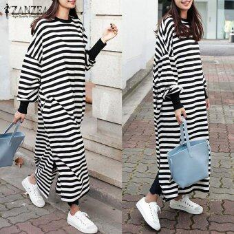 Harga ZANZEA Women Striped Dress Long Batwing Sleeve O-Neck Casual Loose Split Maxi Long Dress Vestidos (Stripe) - intl