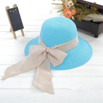 Harga Korean Style Summer Lady''s Ribbon Bowknot Straw Hat Lady Sun-Shade Cap Sky Blue'