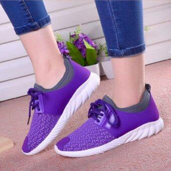 Harga ZH Ladies casual shoes breathable mesh cloth (Purple) - intl