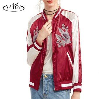 Harga yilia 2017 New Chic Autumn Women Basic Coats Flower Embroidery Bomber Baseball Long Sleeve Red Jacket Jackets - intl