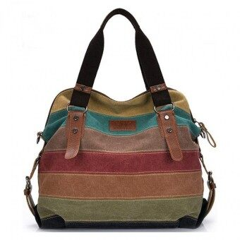 Harga TB FASHION Big Size: 37x36x15cm กระเป๋าแฟชั่น กระเป๋า Big Canvas bag Rainbow Fashion Women Bag