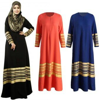 Harga Women Muslim Maxi Dress Stripes Zipper Long Sleeves Abaya Kaftan Islamic Robe Long Dress Black - intl