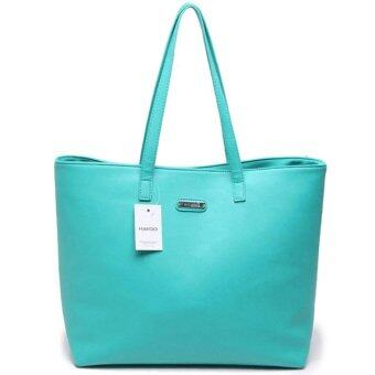 Harga Mango Variable Leather กระเป๋าหนัง Shopping Bag - Green สีเขียว