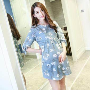 Harga Small Wow Maternity Elegant O-neck Print Cotton Loose Above Knee Dress Blue - intl