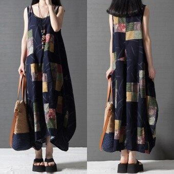 Harga ZANZEA Vestidos Summer Women Vintage Print Dress O Neck Lantern Sleeveless Long Maxi Dresses Loose Casual Dress (Blue) - intl