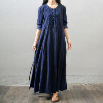 Harga ZANZEA Oversized Vestidos Women Retro Long Maxi Dress Autumn Long Sleeve Lace Embroidery Buttons Casual Loose Elegant Dress Navy - intl